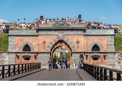 Daugavpils, Latvia-July 20, 2019:Re-enactment festival Dinaburg 1812 in Daugavpils Fortress. Spectators above Nicholas Gate shortly before re-enactment of the battle between French and Russian armies.