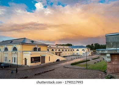 Daugavpils/Latvia - 07.22.2020: Impressive rain clouds above Daugavpils Fortress. Former Artillery arsenal built in Empire style in 1830s. Mark Rothko Art Centre novadays. Restored in 2012.