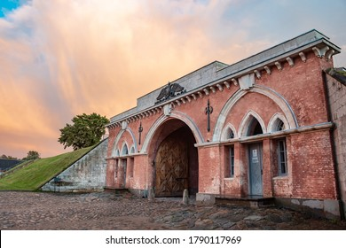 Daugavpils/Latvia-07.22.2020: Daugavpils Fortress and impressive clouds in the sky above. Restoration project of Nicholas Gate – best in 2013 in Latvia. Gate built in 1824 - 1827 in Neo-Gothic style