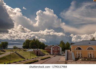 Daugavpils/Latvia-07.22.2020:Impressive rain clouds above Daugavpils Fortress (1810-1878). Nicholas gate, Water lifting house - Infocentre, former Artillery arsenal - Mark Rothko Art Centre novadays