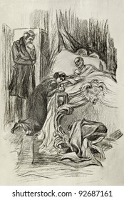 """Daughter at bed of its dying father. Illustration by artist A.P. Apsit from book """"Leo Tolstoy """"War and peace"""", publisher - """"Partnership Sytin"""", Moscow, Russia, 1914."""