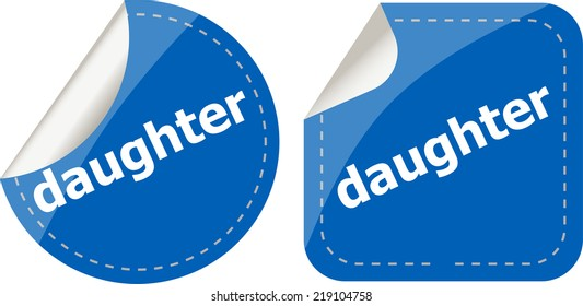 daughter word stickers web button set, label, icon