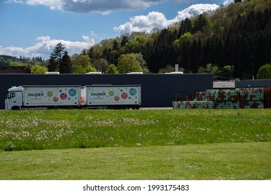 """Daun, Germany  29 May 2021,   The location of """"Dauner"""" mineral water with a truck and many water boxes in Daun"""