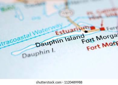 Dauphin Island. Alabama. USA on a map