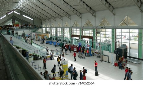 DAVAO CITY, PHILIPPINES—MARCH 2016: Aerial shot inside the Davao International Airport, or Francisco Bangoy International Airport, the busiest airport in Mindanao.