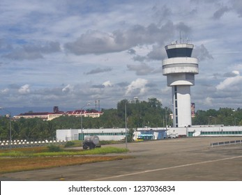 DAVAO CITY, PHILIPPINES—MARCH 2018: Control tower at the Francisco Bangoy or Davao International Airport.