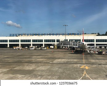 DAVAO CITY, PHILIPPINES—MARCH 2018: Davao International Airport from the runway.