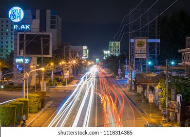 Davao City/ Philippines - May 5,  2018: Trail nights in Davao City at night