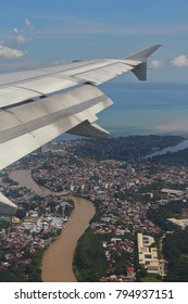 DAVAO CITY, PHILIPPINES-NOVEMBER 4, 2017:  A view of Davao City from a plane flying over it. Davao City is the hometown of the President of the Philippines.