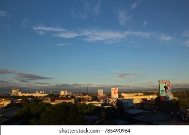 DAVAO CITY, PHILIPPINES-NOVEMBER 5, 2017: Skyline of the home town of President Rodrigo Duterte, Davao City.