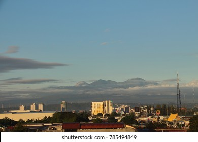 DAVAO CITY, PHILIPPINES-NOVEMBER 5, 2017: The home town of President Rodrigo Duterte, Davao City with mount Apo at the background.
