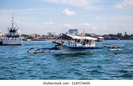 Davao, Philippines - Apr 26, 2018: The tourists passenger boat from Davao port to Samal island, Philippines