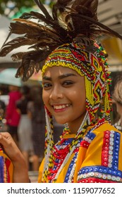 Davao, Philippines - August 18, 2018: Woman in costume as participant in Davao's Indak-indak during Kadayawan Festival 2018