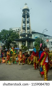 Davao, Philippines - August 18, 2018: People in Costume in Davao during Kadayawan Festival 2018