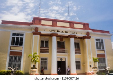 Davao, Philippines - August 18, 2018: Close-up shop of Theavao City Hall