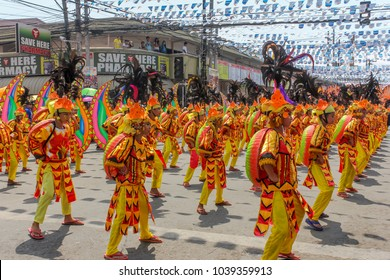 Davao, Philippines - August 22, 2015: Participants of Kadayawan festival performs at Bonifacio Street in Davao City, Philippines
