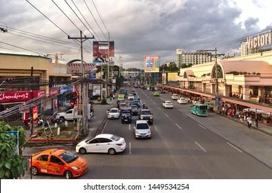 Davao, Philippines - December 26, 2018: Street shot at J.P Laurel Avenue near Victoria Plaza
