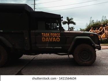 Davao Philippines December 5,2016.Soldier truck patrol.