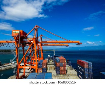 Davao, Philippines- February 24 2016: Container vessel alongside in Panabo Terminal