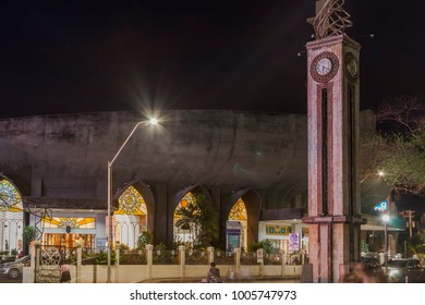 Davao, Philippines - January 20, 2018: Night scene outside of San Pedro Cathedral at San Pedro Street.