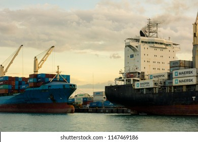 Davao, Philippines - July 07, 2018: Cargo Vessels Docked at the Sasa Port in Davao City
