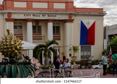 Davao, Philippines - June 25, 2018: Close-up shot of the City Hall of Davao