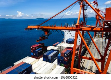 Davao, Philippines - May 19 2016: Container vessel alongside, view from the gantry crane