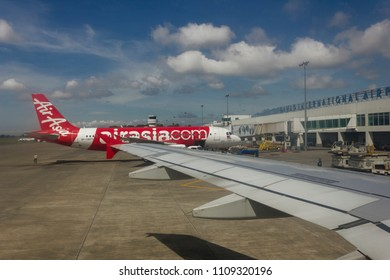 Davao, Philippines - May 28, 2017: Commerical Airbus docked at the Davao International Airport