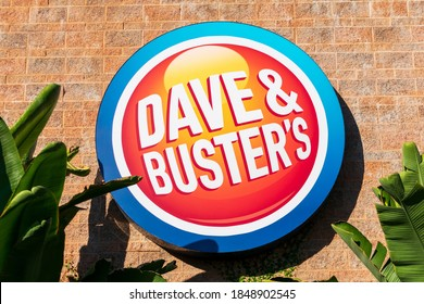 Dave & Buster's sign logo of an American restaurant and entertainment business - Milpitas, California, USA - 2020