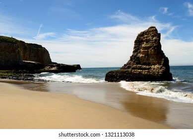 Davenport Beach, also known as Shark Tooth Beach by   the locals, located in Davenport California.   Davenport is a favorite tourist stop along the   coast.