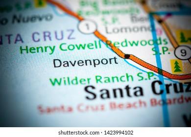 Davenport. California. USA on a map
