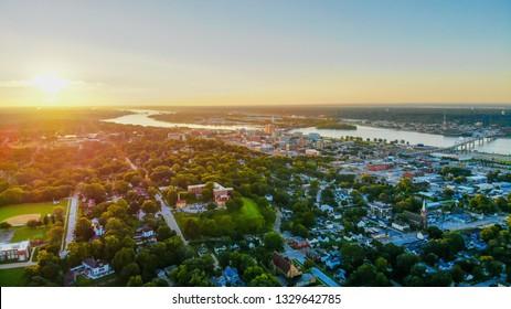Davenport, Iowa - September 10, 2018: Quad cities skyline view