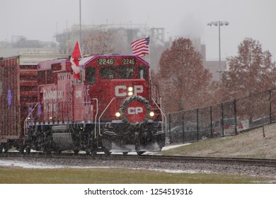 Davenport, Iowa/ USA - December 4, 2018: Canadian Pacific Holiday Train stopped in Davenport, Iowa on a snowy day. Its mission is to fill local food banks.