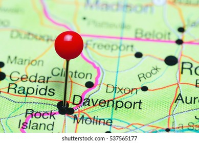Davenport pinned on a map of Iowa, USA