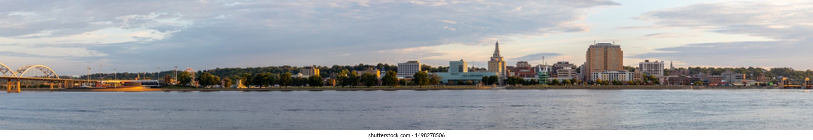 Davenport, in the state of Iowa, United States Of America, as seen across the Mississippi River