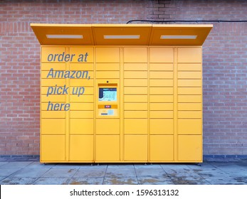Daventry, Northamptonshire / UK - November 29th 2019: Amazon Locker unit located in a shopping centre. Customers can arrange for their orders to be delivered here for later collection.