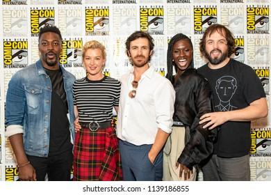 "David Ajala, Gretchen Mol, Eoin Macken, Jodie Turner-Smith, Angus Sampson attend Comic-Con International San Diego 2018 - Syfy's ""Nightflyers"" press room, San Diego, California on July 19, 2018"