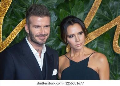 David Beckham, victoria Beckham arrive at The Fashion Awards 2018 at the Royal Albert Hall on December 10, 2018 in London, England.