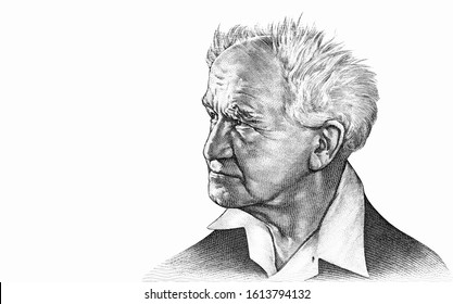 David Ben-Gurion (1886-1973) - the first Prime Minister of Israel and a Zionist leader; Portrait from Israel  Banknotes.