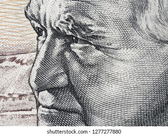 David Ben-Gurion portrait on Israeli 50 sheqalim banknote extreme macro. Primary founder of the State of Israel and the first Prime Minister of Israel.