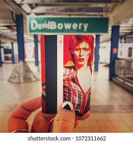 David Bowie limited edition metro cards on sale only at the Broadway Lafayette station in New York City