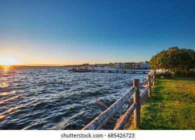 David Brink Park and pier at sunset on a Summer evening, Kirkland, Washington