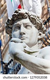 David, by Michelangelo, Palazzo Vecchio, Piazza Signoria, Firenze, Unesco world heritage site, Tuscany, Italy