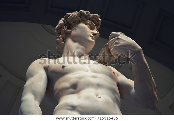 David by Michelangelo, statue of man, Florence Italy