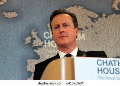 David Cameron, then prime minister of the UK, speaking at Chatham House in London on 10 November 2015, where he outlined the UK's demands ahead of a referendum on the UK's membership of the EU.