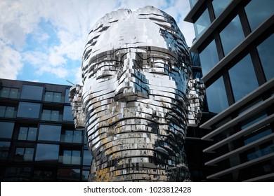 David Cerny head sculpture of Franz Kafka head in Prague