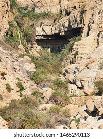 the david falls in nahal david viewed from the road to the ein gedi field school near the dead sea in israel