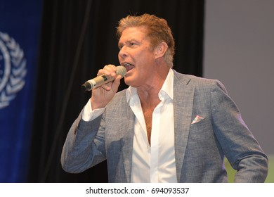 David Hasselhoff at FedCon 26. FedCon, Europe's biggest Star Trek Convention, invites  celebrities and fans to meet each other in signing sessions and panels. FedCon 26 took place Jun 2-5 2017.