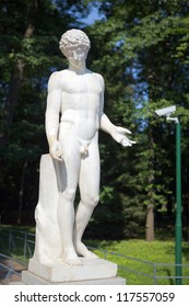David nude sculpture in white marble