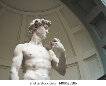 David is a Renaissance sculpture masterpiece of Michelangelo in florence italy